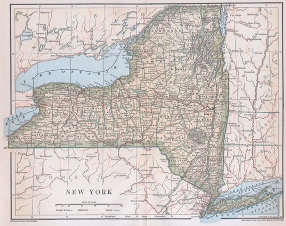 Map New York State Cities Towns Images