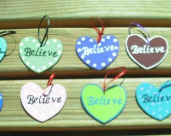 Believe Heart Wooden Ornament