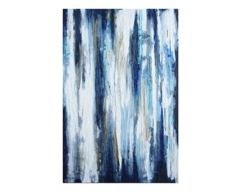 Blue Abstract Painting Blue and White Art Textured Painting on Canvas