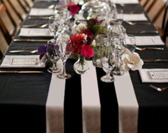 black and white canopy table runner