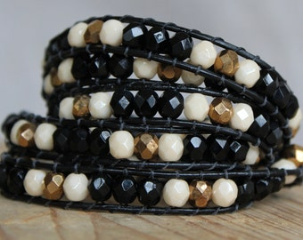 At the Ballet Beaded Leather Wrap Bracelet