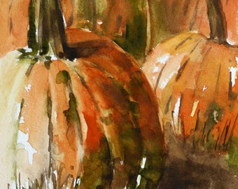 mixed media painting pumpkin decor Halloween art on CANVAS REPRODUCTION halloween decor fall wall hanging thanksgiving LARGE wall art canvas