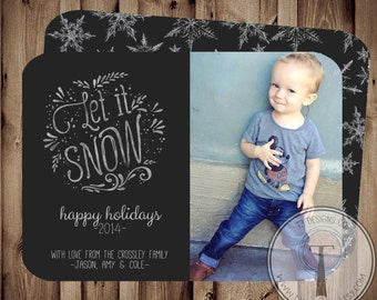 Let It Snow, Photo Christmas Card, holiday card, Christmas card, snowflake card, Holiday cards,Christmas card, photo holiday card