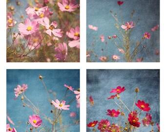 Set of 4 SEOUL Cosmos - Photographic print - pink, blue, fall, autumn, bohemian, boho, art, asia, decor, square, 12 x 12, 16 x 16 20 x 20