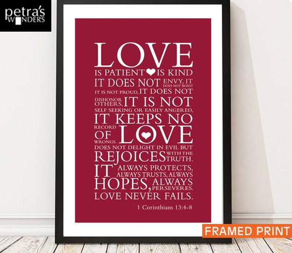 love print framed wall art bible verse 1 corinthians 13 4 7. Black Bedroom Furniture Sets. Home Design Ideas