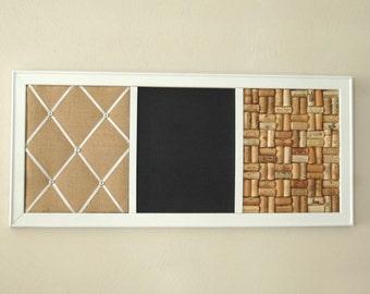 Large French Memo Board,  Chalkboard, Wine Corkboard  Kitchen Wall Organizer Family Command Center