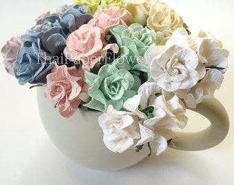 15 Pastel Curly Mulberry Paper flower roses scrapbook card making home decor wedding craft supply G2/426
