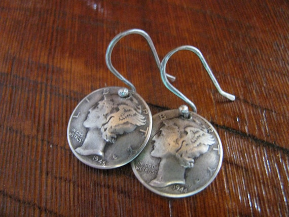 90% Silver Mercury Dime Earrings, Coin Jewelry, Solid Silver with Sterling Silver Ear Wires, Boho, Chic, Minimalist
