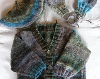 Hand Knit Little Boys Winter Set, Cardigan, Beret, Mittens Knit in Wool/Silk Blend Yarn