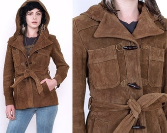 70's Brown Suede Leather Hooded Toggle Hippie Boho Belted Vintage Jacket Coat XS/S