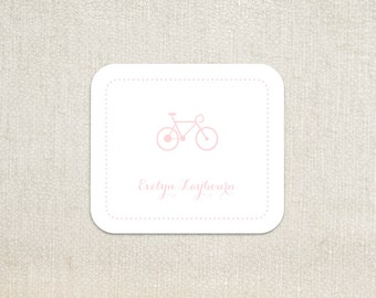 Pink bicycle bike dot border little girls enclosure cards calling cards