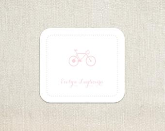 Pink bicycle bike dot border little girls enclosure cards calling cards