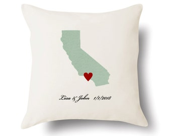 Personalized California Pillow - Text Embroidered - Off White 100% Cotton - 18x18 - California Map Pillow - 4 Color Choices