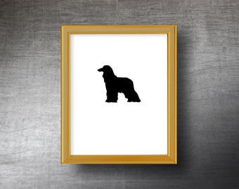 Afghan Hound Silhouette Art 8x10 - UNFRAMED Hand Cut Afghan Hound Print - Personalized Name or Text Optional
