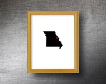 Missouri Wall Art 8x10 - UNFRAMED Die Cut Silhouette - Missouri Print - Missouri Wedding - Personalized Text Optional