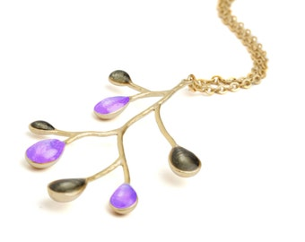 Neon Purple Necklace, Cute Gold Necklace, Tree Branch Necklace, Nature Jewelry, Gold Black Necklace, Tree Branch Jewelry, Artisan Necklace