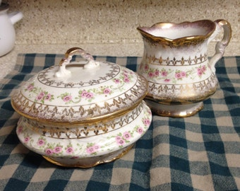 Sterling Porcelain Company, China, 1890 Cream and Sugar Set