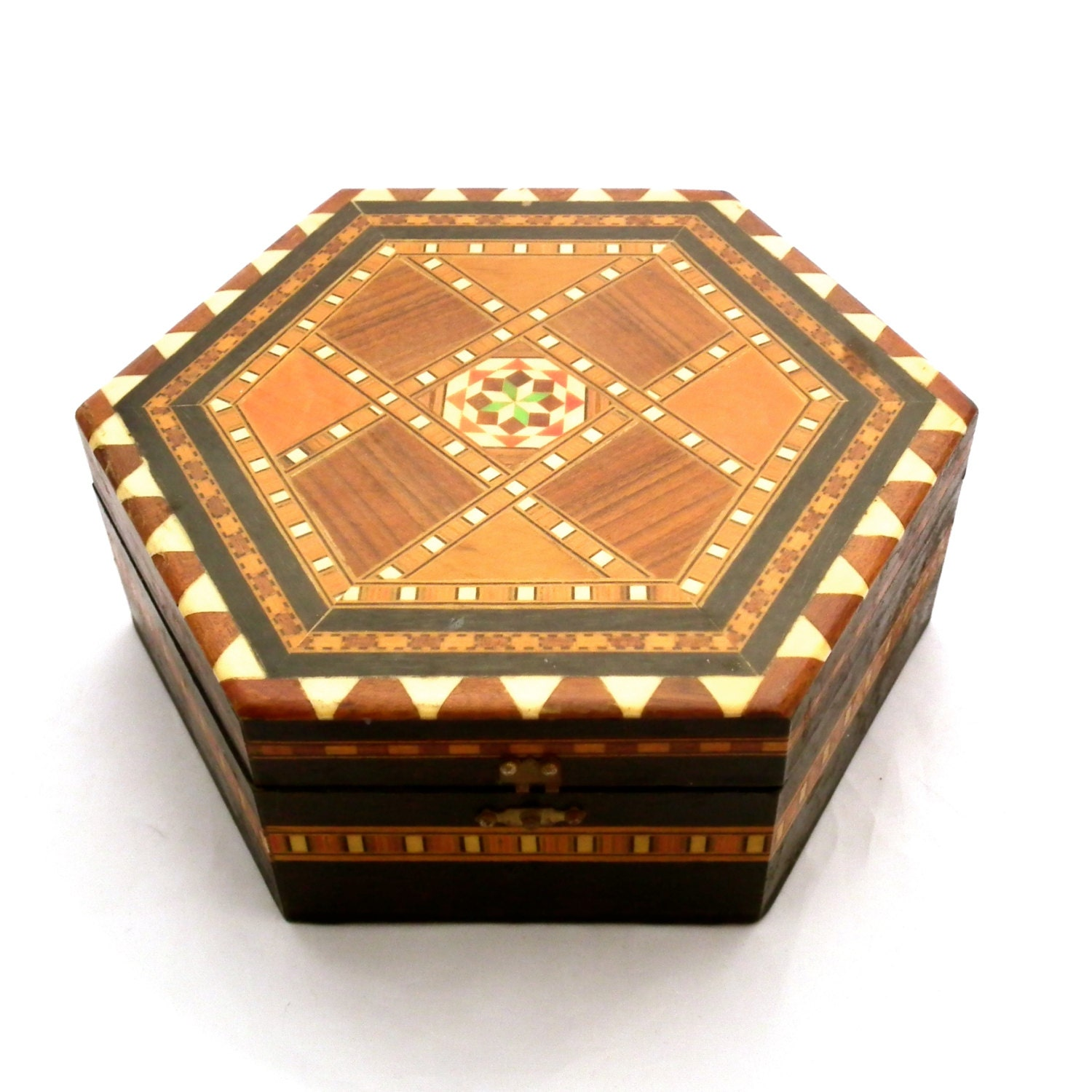 Wooden Decorative Boxes: Decorative Inlaid Wooden Box Marquetry Box By TwoTimeVintage
