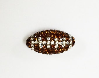 Crystal Bling Football Bead, Rhinestone Crystal Pave Set Sports Beads 21mm 1.5mm Hole Bling Football Bead - RF108