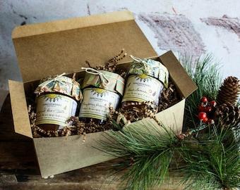 Florida Artisan Jam Gift Box with Three Jars of Handcrafted Fresh Fruit Jams