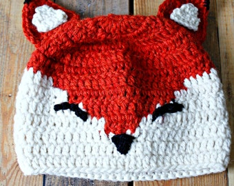 Baby hat crochet Fox