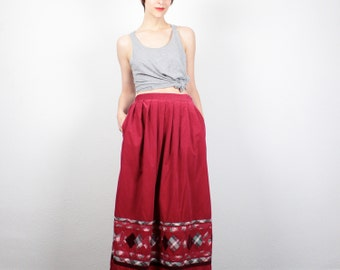 Vintage Hippie Skirt Red Corduroy Maxi Skirt Plaid Patchwork Hippie Maxi Skirt 90s Does 70s Skirt Boho High Waisted Skirt XS S Small M