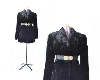 Fur Coat,  1940s Coat, Black Fur Coat, 40s coat, Vintage Coat, Womens Coat, 1940s Coat
