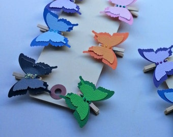 Wedding clip, Butterfly clothespin clips, Butterfly clips, Wedding butterfly clips, party favor clips, bag clips, favor bag closure