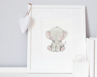 Baby Elephant, UNFRAMED New Born Art, Picture for baby, Neutral Modern, Unisex Nursery Art, Kid's Safari Art, Africa Animal Print