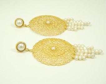Gold pearls earrings, Bride earrings, Lace earrings, Big dangle earrings, Circle earrings, Wedding earrings