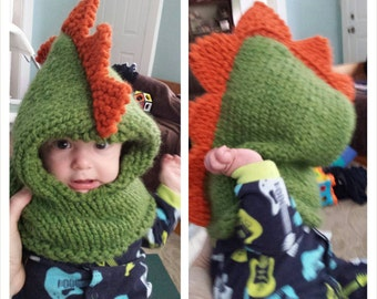 Hand Knit Dinosaur  cowl,  hooded cowl