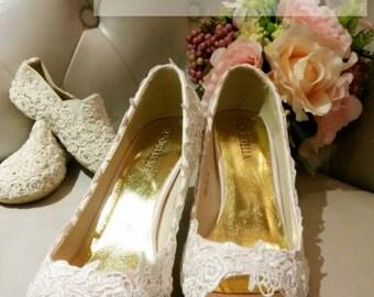 Princess lace  bridal wedding heels /bridesmaid shoes  (BS1223256)