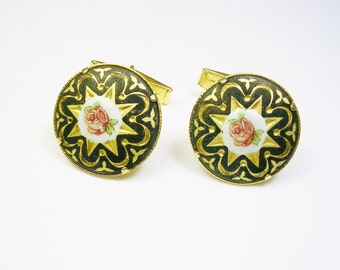 Damascene Toledoware Cufflinks, round gold plate, black enamel, hand painted flower, Formal Wear, Men's Wedding, Cuff Links, Groom Gift