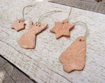 Handmade Christmas ornaments, ceramic holiday ornaments, primitive pottery gingerbread ornament, clay gift tags, tree hanging decoration