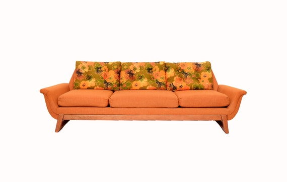 Adrian pearsall orange and floral gondola sofa 60s mid century for 80s floral couch