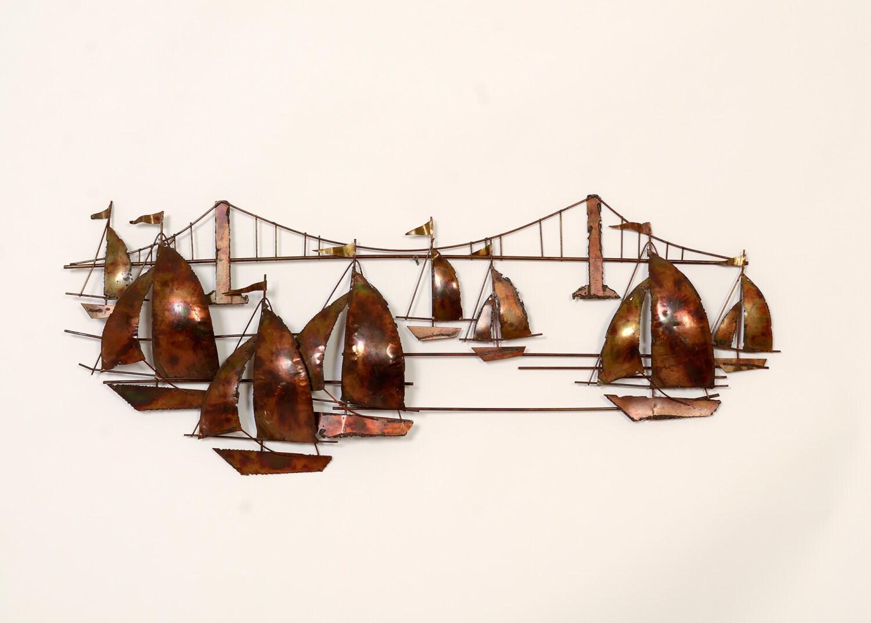sail boats golden gate bridge wall art jere style mid century. Black Bedroom Furniture Sets. Home Design Ideas