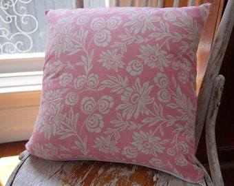 Joel Dewberry First Bloom floral cushion cover/pillow backed with EST French linen 45cm square