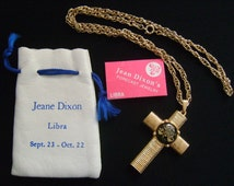 Sept 23 - Oct 22 Libra Sign Symbol Scales of Justice Zodiac Horoscope Astrology Astrological Jewelry Glass Gold Tone Cross Pendant Necklace