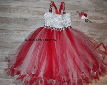 white and red tutu dress perfect for christmas