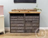 Large Industrial Brushed Steel 24 Drawer Wood Butcher Block Kitchen Island Double Cabinet
