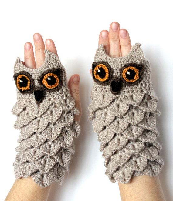 Hand Crocheted Fingerless Gloves Owl Gift by ...
