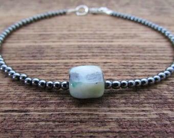 opal bracelet, peruvian opal & hematite bracelet, vegan bracelet, chakra bracelet, healing bracelet, october bracelet, october birthstone