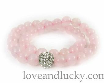 Double Rose Quartz Bracelet  with Pave Silver CZ bead -  bra-quar-01