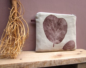 Cosmetics pouch, hand printed linen, Plants print, Zipper pouch, leaves stamp, Purse