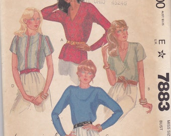 McCalls 7883 Vintage Pattern Womens Blouse In 4 Variations Size 12 UNCUT