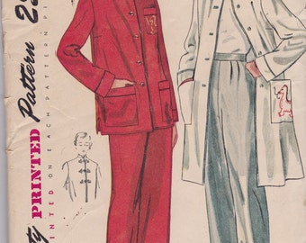 Simplicity 3354 Vintage Womens  Pajamas from 1950 In 2 Variations Size 14