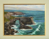 Arch at Santa Cruz beach - plein air seascape 12x9 original oil painting framed
