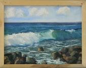 Waves in Kauai - plein air seascape 13x10 original oil painting framed