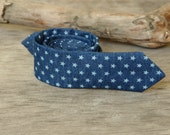 Denim White Stars Tie / Men's skinny Jean tie / Tie Dark Blue White Stars / Necktie for Men FREE GIFT