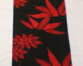 SF828 Red Bamboo on Black Silk fabric